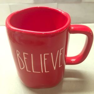 "NWT Rae Dunn Red ""BELIEVE"" Mug!"